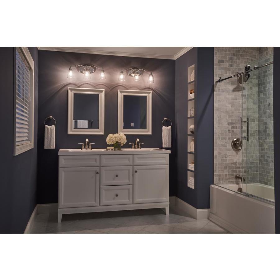 Love This Light Fixture Over Double Sink Two Mirrored Vanity Kichler Hamden 3 Light 8 45 In Brushed Nickel Bell Va Vanity Lighting Silver Room Vanity Light Bar