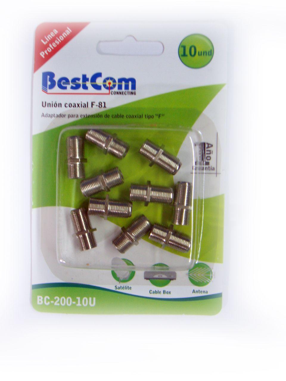 F81 uniones cable coaxial Bestcom  BC-200-10V  Encuentra este producto en Cable Servicios S.A.   ventas@cableservicios.com  Tels: (57) 310 206 08 10  (57) 1 224 14 87 / 224 14 89  Skype: Cableservicios  Síguenos en:  Facebook: www.facebook/cableserv  Twitter: @Cable_Serv  www.cableservicios.com