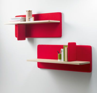 Beautiful Modern DIY Bookshelf Ideas With Two Tier Wooden Wall Shelves With Red  Backside   Designing DIY Bookshelf For Your Private Library Nice Design