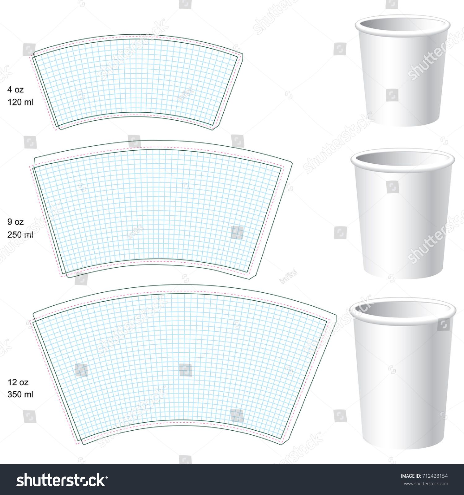 Paper Cup Vector Blank Templates 3 Stock Vector (Royalty