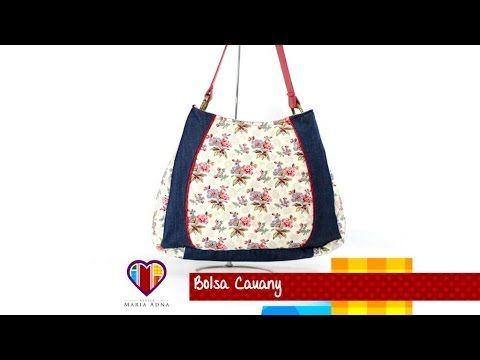 Aula em vídeo de bolsa artesanal de tecido Cauany. Cute fabric bag tutorial. Fabric bags