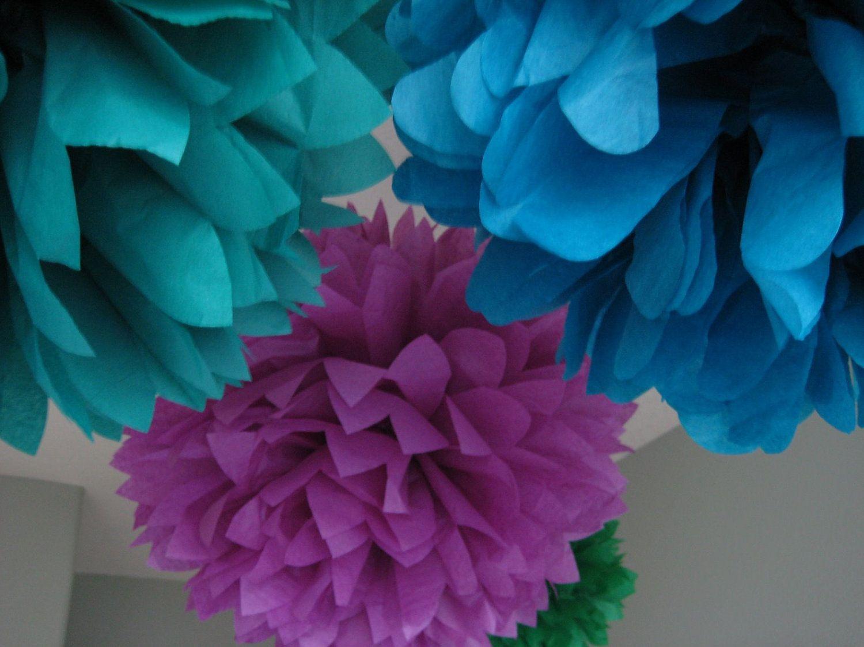 Custom 10 Tissue Paper Pom Pom Flower Diy Decor Kit Graduation