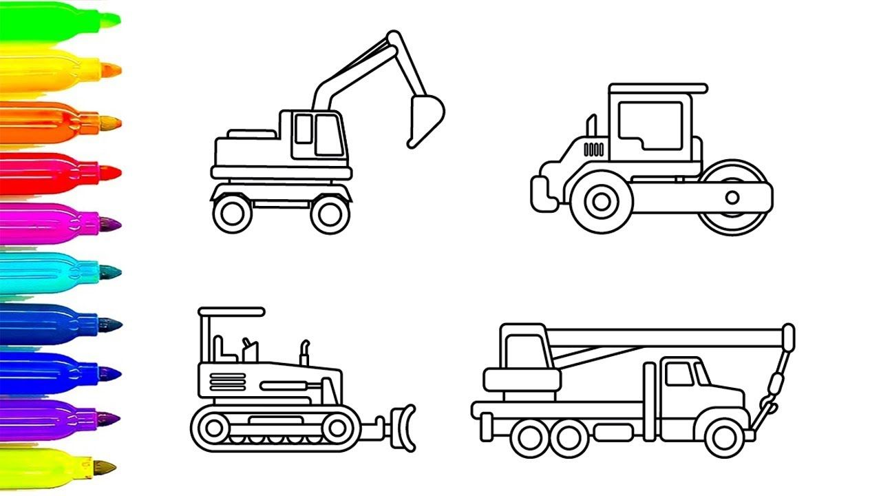 Learn Colors For Chidren With Construction Truck Coloring Pages Car