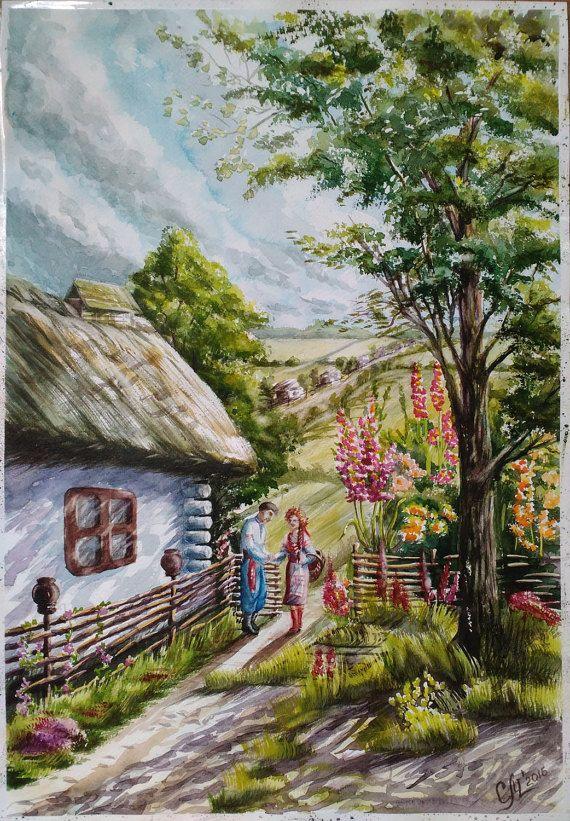 Original Ukrainian Watercolor Landscape Painting Typical Ukrainian Antique House Old Village Ancient Country Wicker Fence Rural Decor Ua En 2020 Pinturas En Acuarela Paisajes Paisaje Campestre Y Paisajes