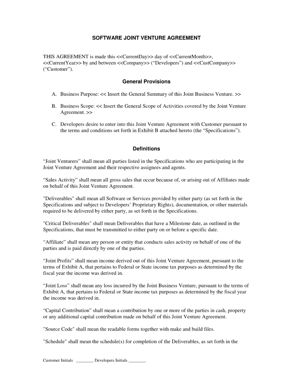Joint Venture Agreement Templates Agreement Sample Templates With