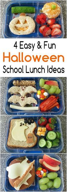 4 Fun Halloween School Lunch Ideas: Ghost, Jack-O-Lantern, Bats and Witch #schoollunchideasforkids