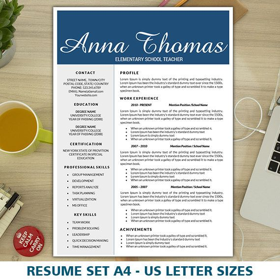 Elementary Teacher Resume, Free Cover Letter Template, Creative Resume  Template For Word, 1, 2, 3 Pages Resume, Educator Resume, Teaching CV  Free Cover Letter Template Word