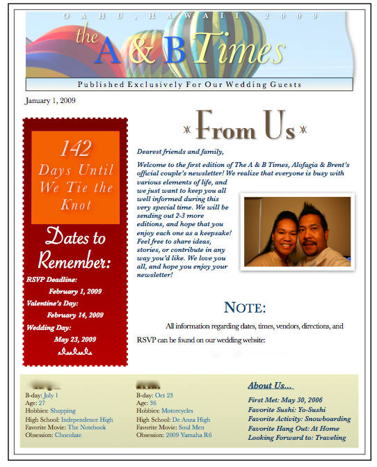 pre wedding newsletter with template best destination wedding