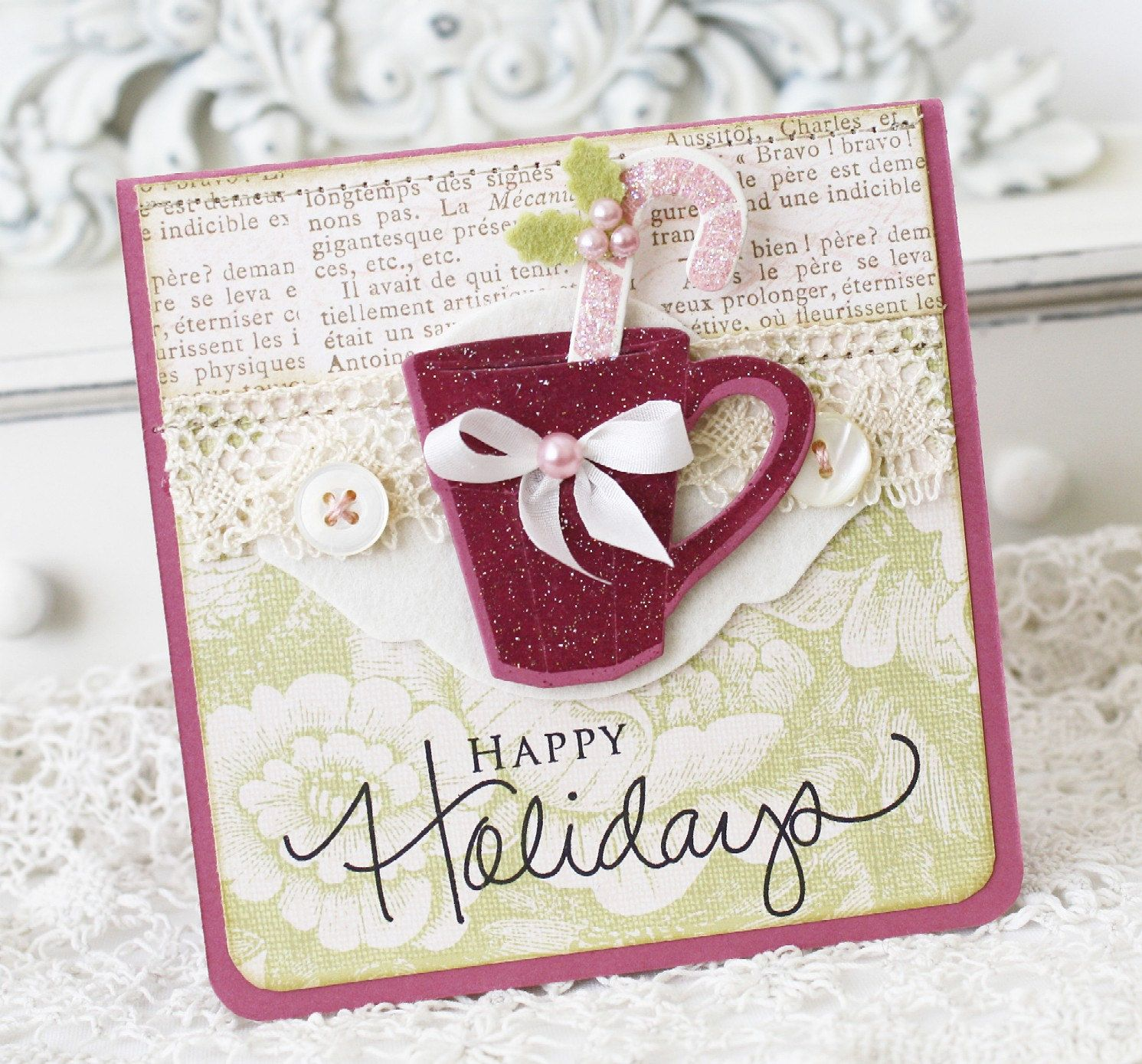 Happy holidays handmade card stamped christmas cards