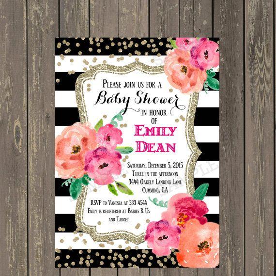 black and white baby shower invitation, black & white stripe, Baby shower invitations