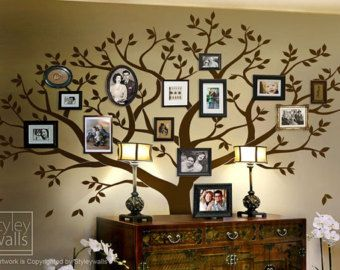 Family Tree Wall decal -Tree Wall Decal - Photo Frame Tree Wall Decal  Sticker