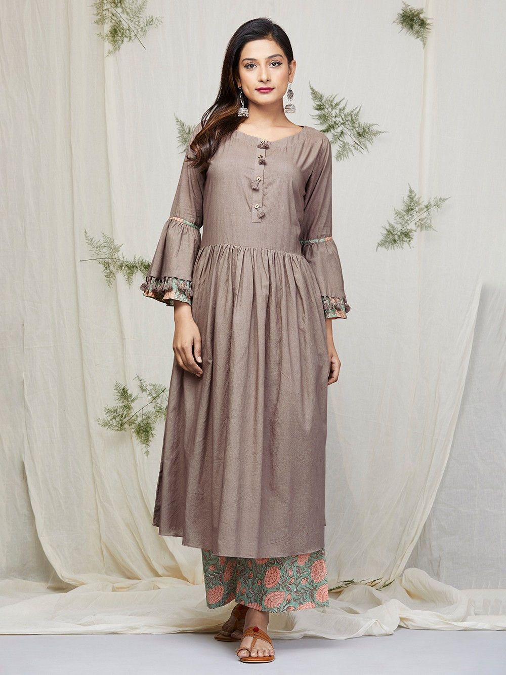 bb7bb36c14 Brown Cotton Kurta with Peach Green Block Printed Palazzo - Set of 2 ...