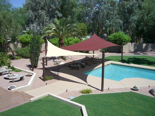 Sun sail shades for some area around pool & Sun sail shades for some area around pool | Pool Landscape Ideas ...