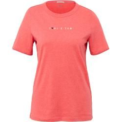 Photo of Tom Tailor Damen Toni Garrn: T-Shirt mit Schrift-Print, rot, unifarben, Gr.xl Tom TailorTom Tailor