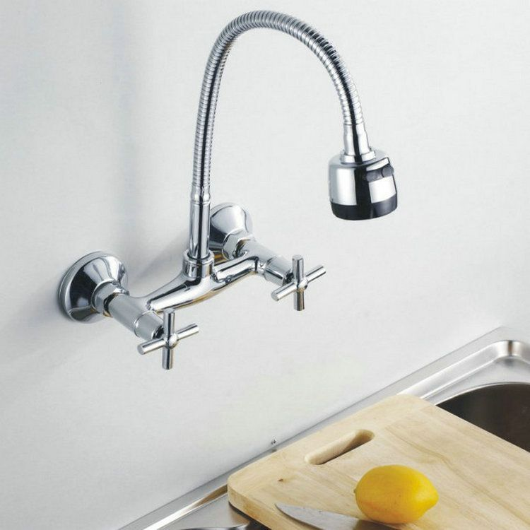 Wall Mounted Flexible Rotate Mixer Tap Faucet Bathroom Basin Kitchen Sink  2Function Spray Spout [N0032