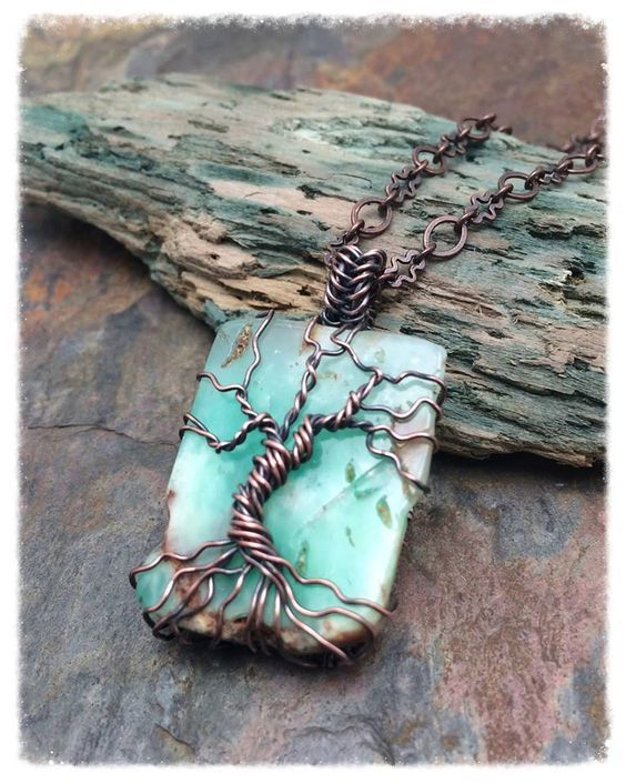 Genuine Chrysoprase Gemstone Tree of Life Copper Wire Wrapped ...