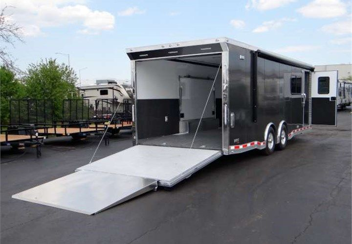 Custom Built Multi Use Car Toy Hauler This Trailer Features 7 Interior Height A 4 Wedge Nose With Ramp A 19 12 Volt Pow Toy Hauler Custom Build Toy Car