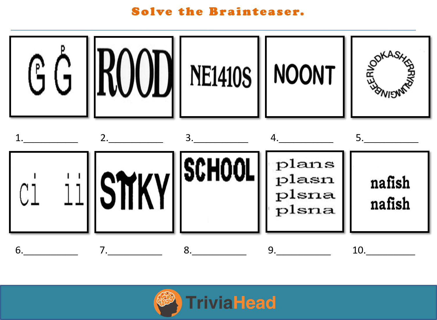 Solve the Brainteaser picture round Picture Quiz Rounds