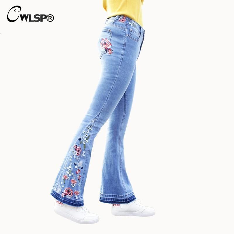 9b368bad1a65b CWLSP Plus size Jeans Woman Flare Pants Embroidery Floral jeans for women  2018 Mid Waist Casual Vintage Denim Pants femme QL3539