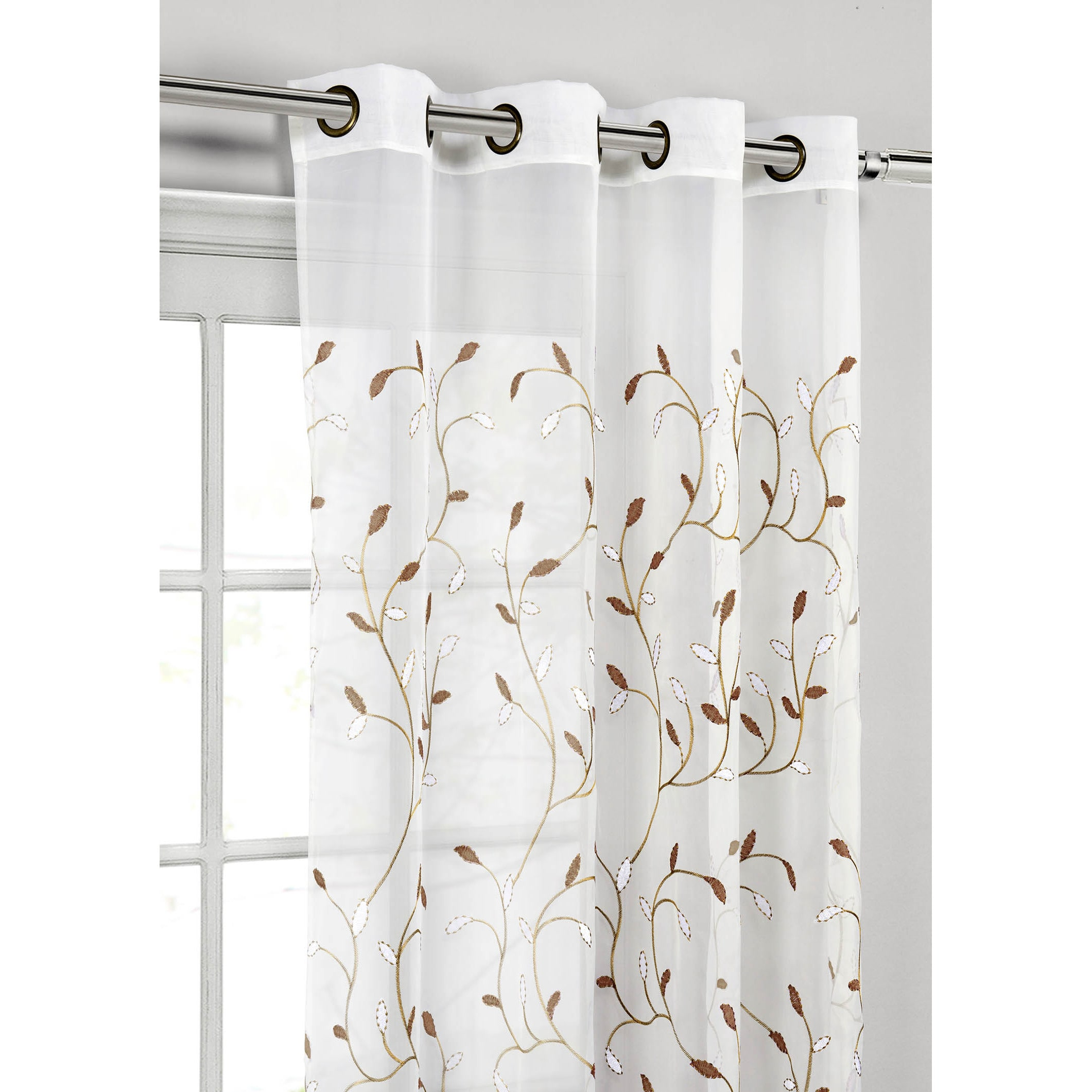 Wavy Leaves Embroidered Sheer Extra Wide 84 Inch Grommet Curtain