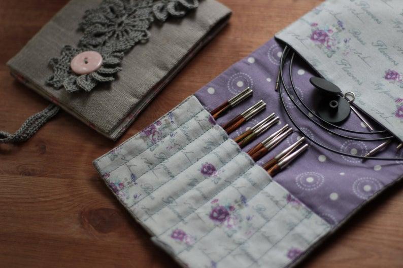 Crochet Hook Holder Knitters Gift Large Knitting Needle Case With 17 Pockets Double Pointed Needle DPN Storage Roll