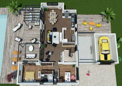Maison - Villa Florida - Couleur Villas - 188800 euros - 105 m2 - faire sa maison en 3d