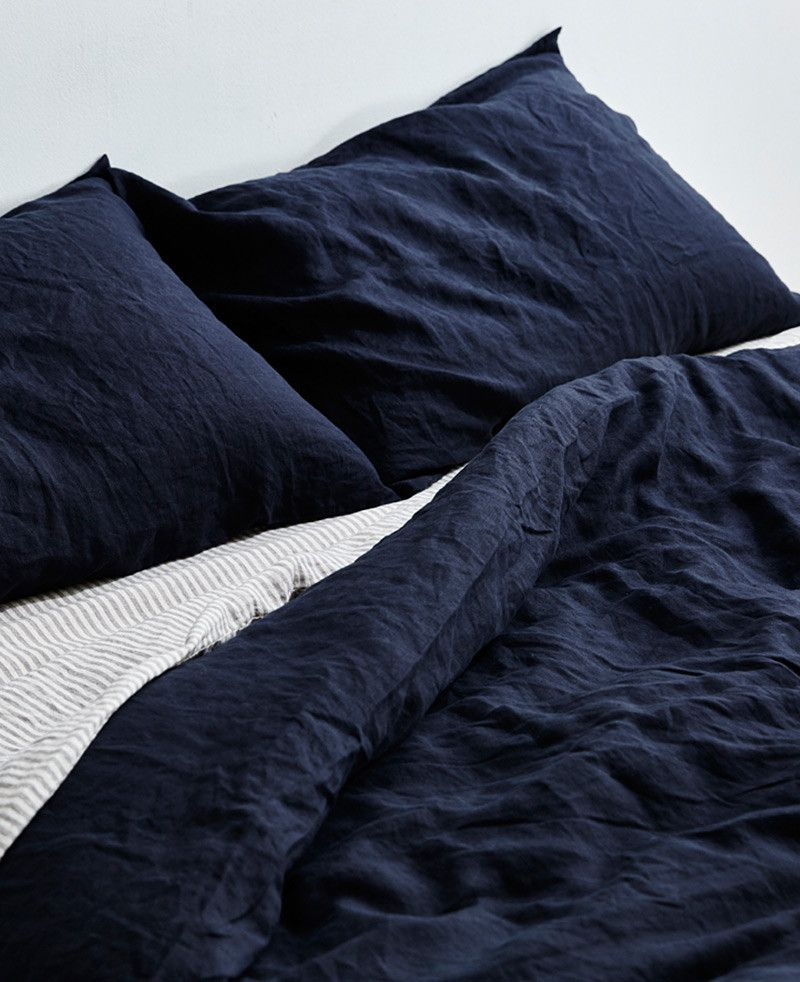 Linen Duvet Cover in Navy by IN BED Navy duvet covers