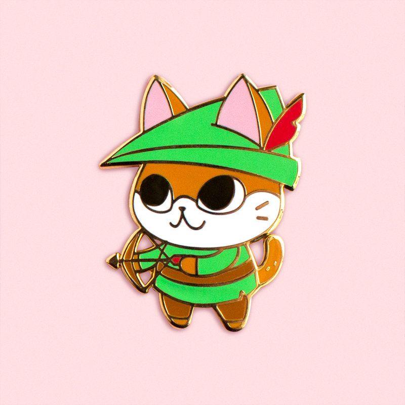 Archer cat hard enamel pin rpg kitty robin hood