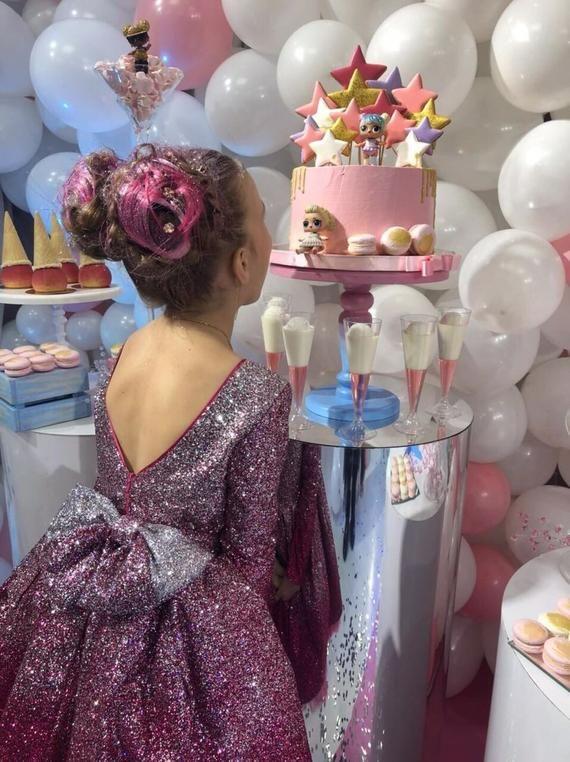 Glitter birthday girl dress tutu dress sparkle dress space