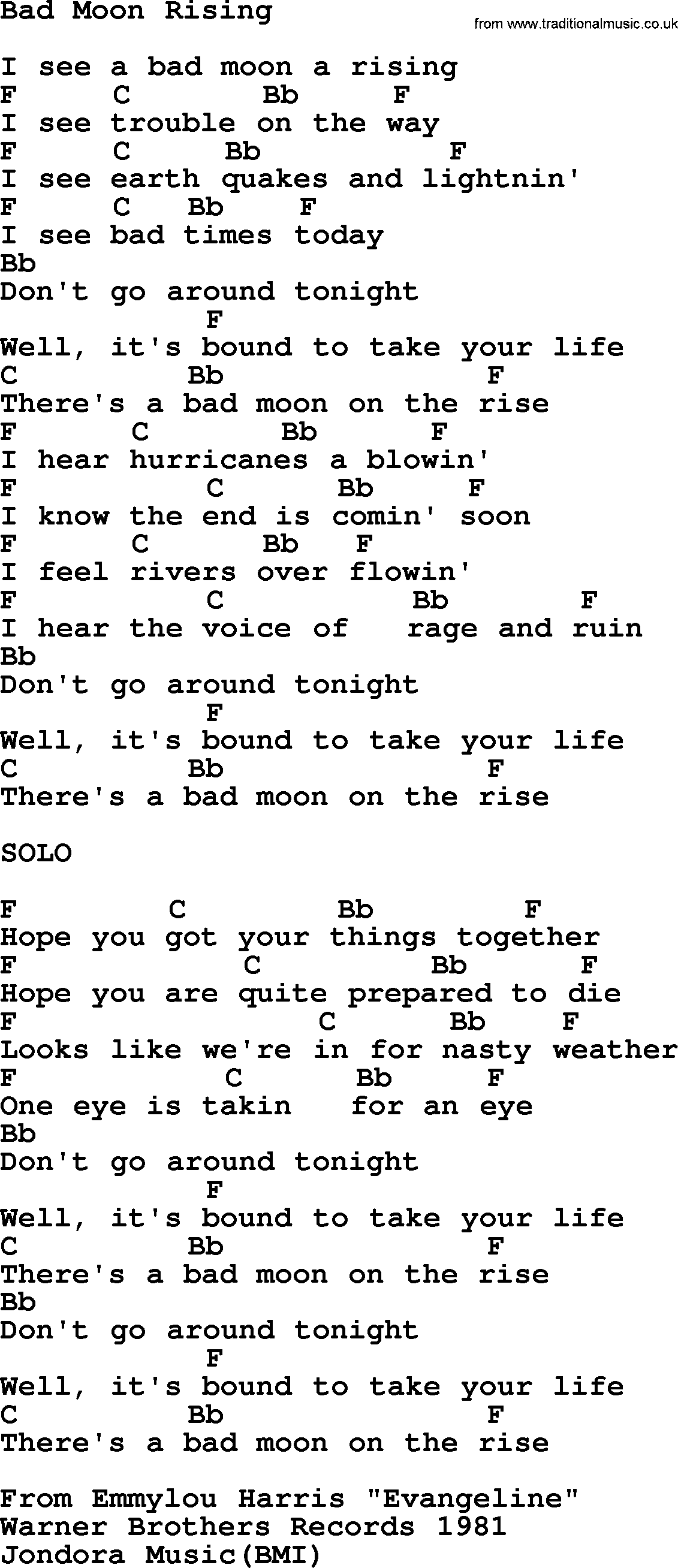 Emmylou Harris Song Bad Moon Rising Lyrics And Chords Songs