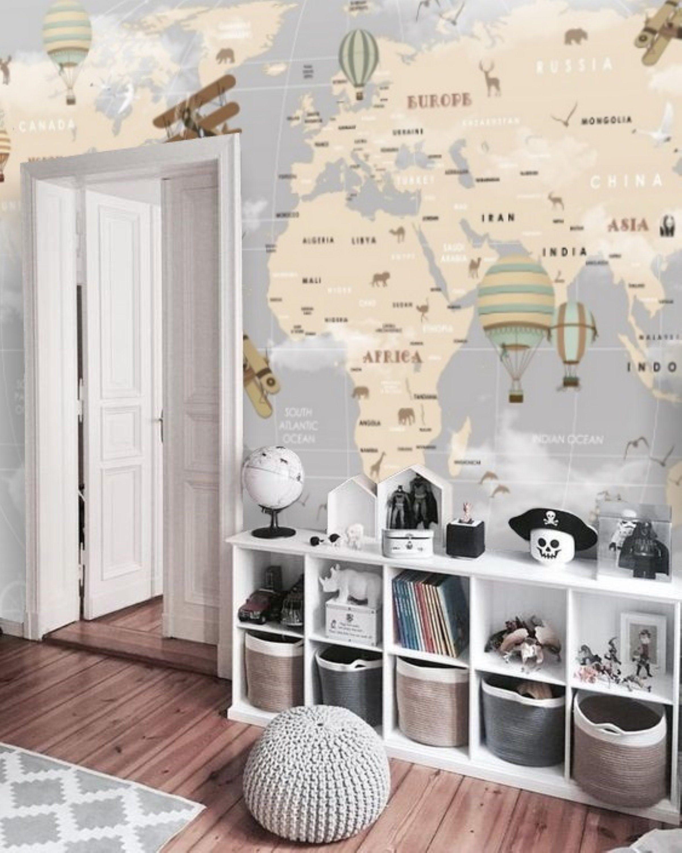 Cartoon World Map Nursery Wallpaper Mural Kids Map Removable Etsy Nursery Wallpaper Wall Wallpaper Nursery Mural