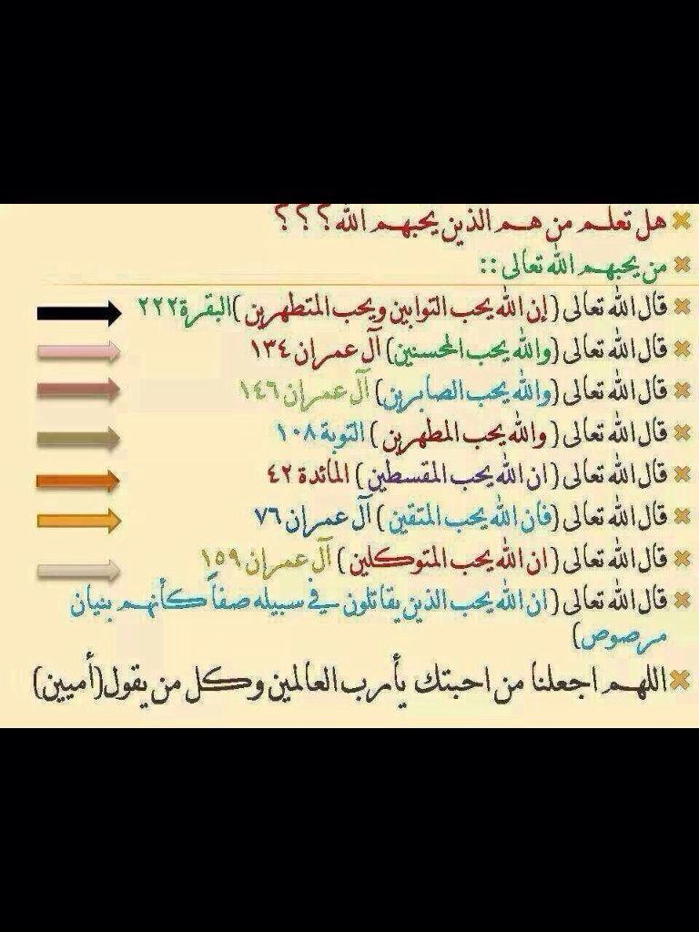 هل تعلم من هم الذين يحبهم الله Quotes Quran My Love