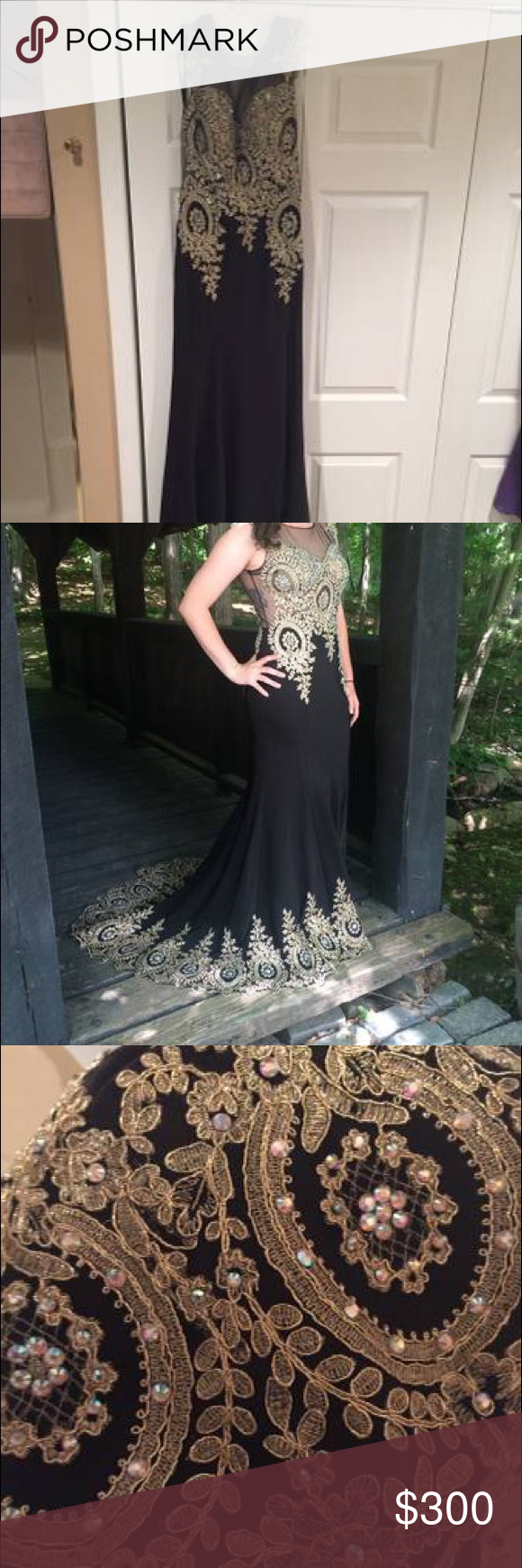 Black And Gold Prom Dress Evening Gown Gold Prom Dresses Evening Dresses Prom Prom Dresses [ 1740 x 580 Pixel ]