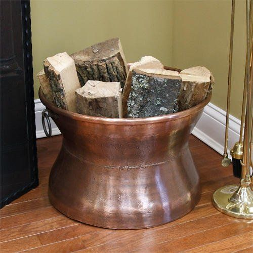 Copper Accent Wall Around Fireplace: Hittite Cauldron Copper Firewood Holder With Ring $226.95