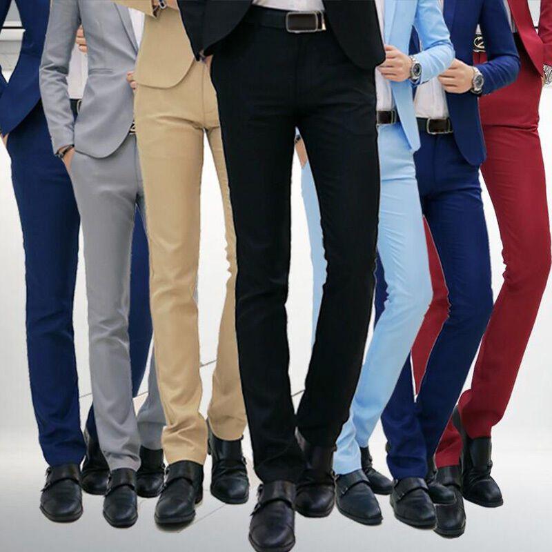 New Summer Mens Dress Formal Pants Trouser Slim Fit Fashion Business Flax Linen