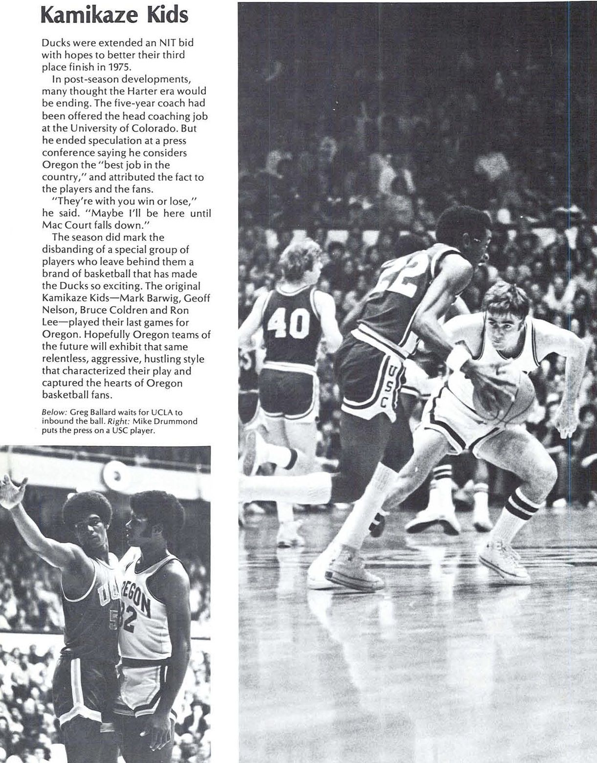 Oregon basketball 1975-76 review culminating in the NIT. From the 1976 Oregana (University of Oregon yearbook). www.CampusAttic.com