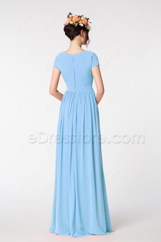 Light blue modest prom dresses short sleeves in wedding