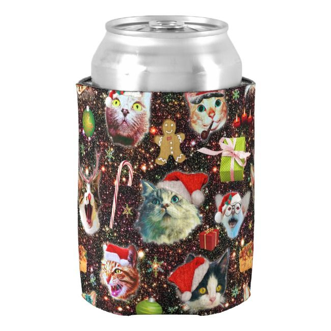Christmas Cats in Space Galaxy Stars Funny Holiday Can Cooler    Christmas Cats in Space Galaxy Stars Funny Holiday Can Cooler