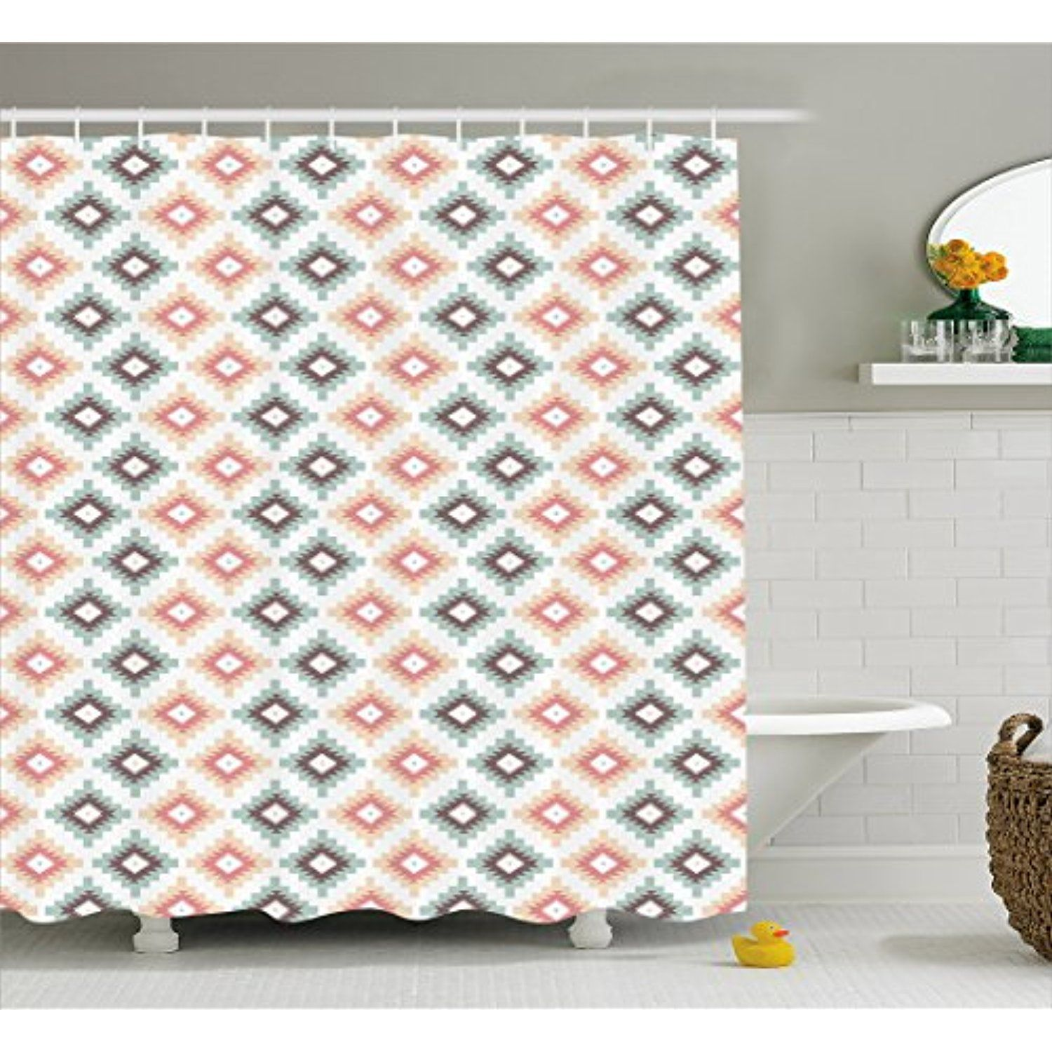 Aztec Shower Curtain By Lunarable Latin Culture Inspired Abstract