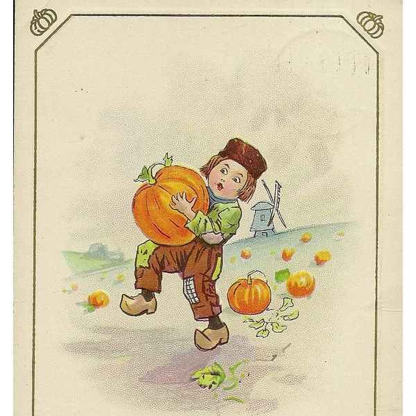 5 Liked On Polyvore Featuring Home Decor Holiday Decorations Pumpkin Vintage Thanksgiving Postcards Post Card Harvest