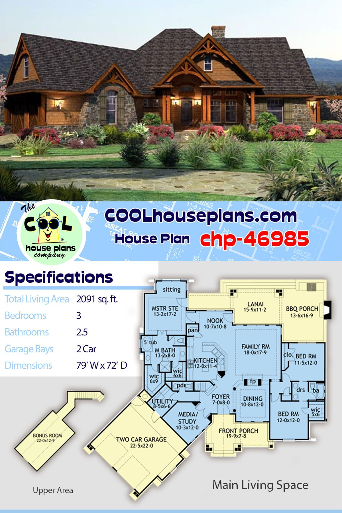 Tuscan Style Home Plan Chp 46985 At Cool House Plans Has 3 Beds And 2 5 Baths With A 2 Car Garage Rustic House Plans Tuscan Style Homes Basement House Plans