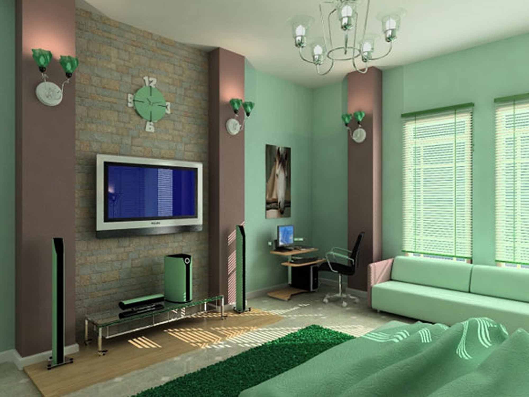Bedroom colors green and white - Colour