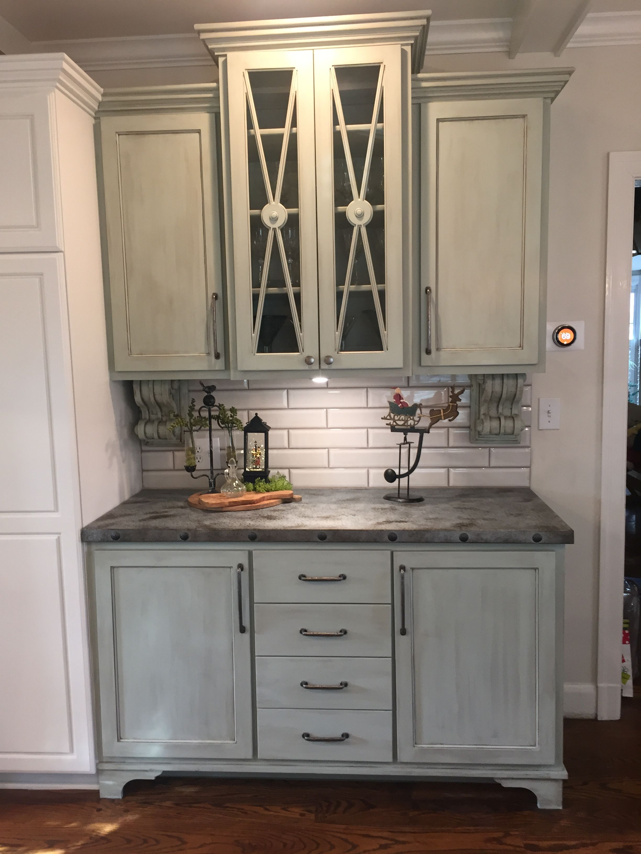 Our Kitchen Renovation Custom Built Cabinet With Antique Corbels Painted And Glazed Zinc Counterto Diy Kitchen Remodel Countertops Green Kitchen Countertops