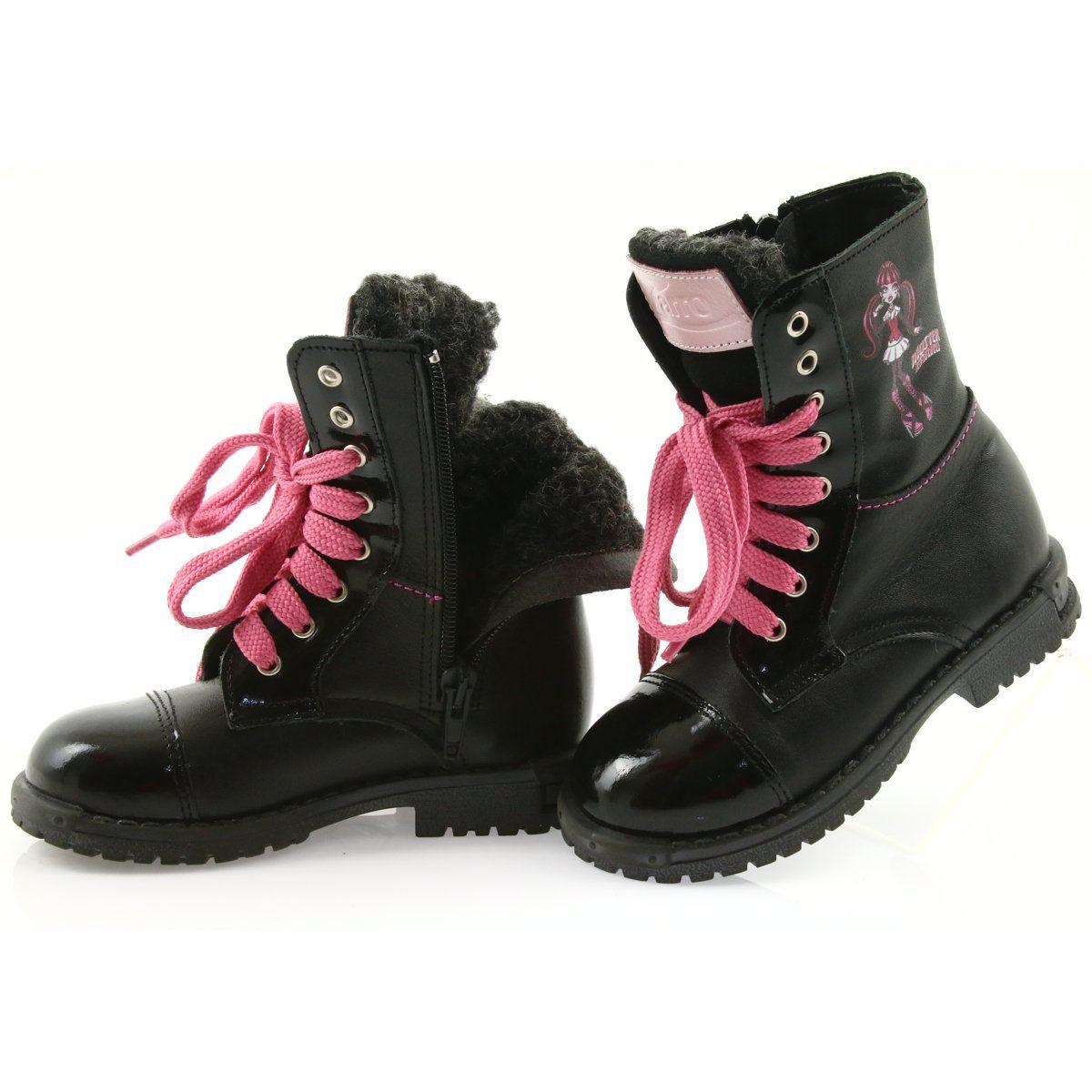 Ren But Trzewiki Buty Dzieciece Zarro 38 01 Czarne Rozowe Kid Shoes Boots Childrens Boots