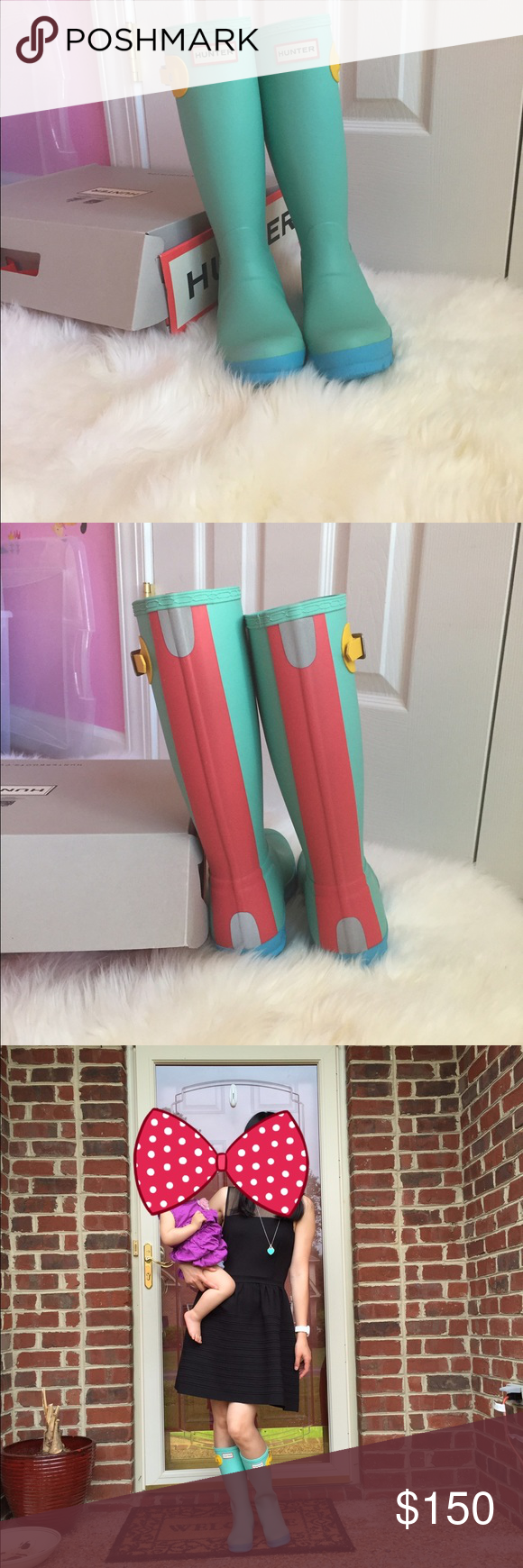 New Authentic Tiffany blue Hunter boots Brand new rare Tiffany blue Hunter boots.Youth size 5 to fit woman 5-6.Super stylish.Price is firm. Hunter Boots Shoes Winter & Rain Boots