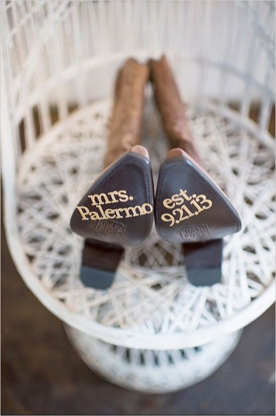 Mrs Palermo wedding cowgirl boots. Captured By: Aimee McAuley ---> http://www.weddingchicks.com/2014/05/20/italian-infused-rustic-chic-wedding/