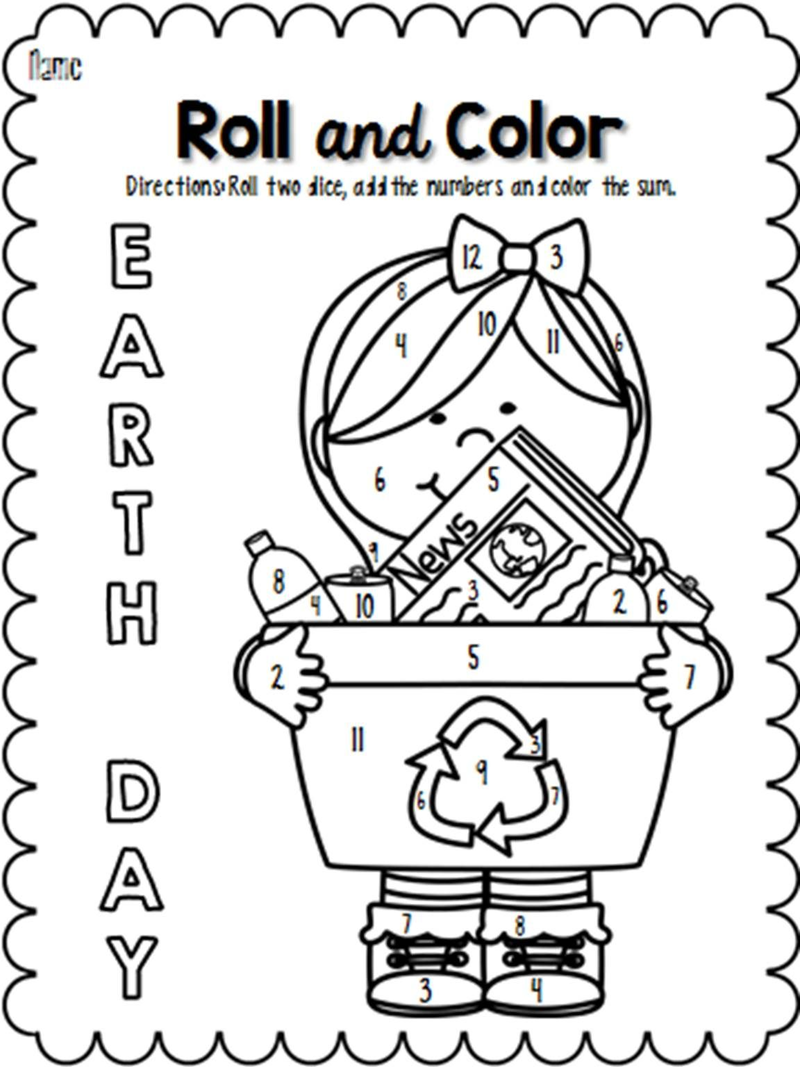 earth day roll and color pages - Language Arts Coloring Pages