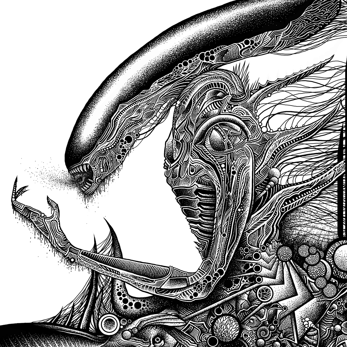 Giger, detail top #art #design #2014 #illustration #blackandwhite #pen #searinglimb #surreal #lineart #draw #alien #fanart #giger