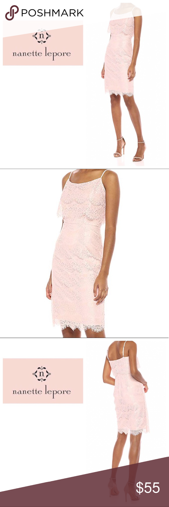Nanette Lepore Barely Blush Lace Dress Nwt With Images Blush Lace Dress Lace Peplum Dress Lace Dress Casual