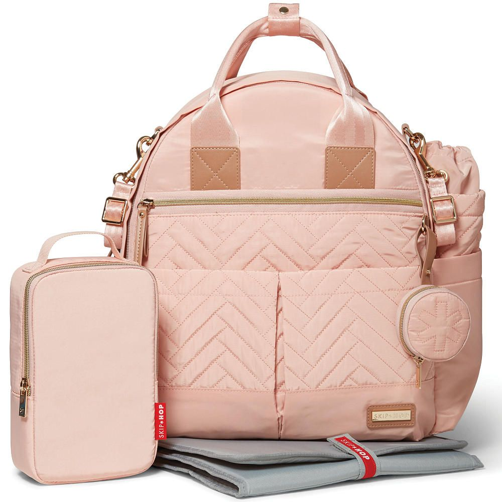 skip hop  piece suite exclusive diaper backpack set  blush  - have it all and then some with skip hop chic diaper bag and accessory set